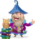 Wizard with Beard Cartoon Vector Character AKA Osborne the Magic Virtuoso - Books and Owl
