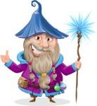 Wizard with Beard Cartoon Vector Character AKA Osborne the Magic Virtuoso - Magic 2