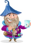 Wizard with Beard Cartoon Vector Character AKA Osborne the Magic Virtuoso - Eye in a Jam