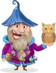Wizard with Beard Cartoon Vector Character AKA Osborne the Magic Virtuoso - Owl