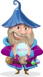 Wizard with Beard Cartoon Vector Character AKA Osborne the Magic Virtuoso - Diving
