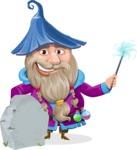 Wizard with Beard Cartoon Vector Character AKA Osborne the Magic Virtuoso - Grave