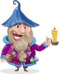 Wizard with Beard Cartoon Vector Character AKA Osborne the Magic Virtuoso - Candle