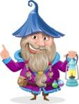 Wizard with Beard Cartoon Vector Character AKA Osborne the Magic Virtuoso - Lantern