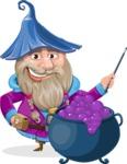 Wizard with Beard Cartoon Vector Character AKA Osborne the Magic Virtuoso - Making Decoction 2