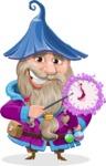 Wizard with Beard Cartoon Vector Character AKA Osborne the Magic Virtuoso - Time