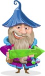 Wizard with Beard Cartoon Vector Character AKA Osborne the Magic Virtuoso - Arrow 1
