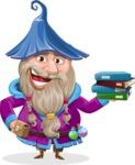 Wizard with Beard Cartoon Vector Character AKA Osborne the Magic Virtuoso - Magic Books