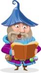Wizard with Beard Cartoon Vector Character AKA Osborne the Magic Virtuoso - Magic Book 2