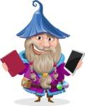 Wizard with Beard Cartoon Vector Character AKA Osborne the Magic Virtuoso - Book or Tablet
