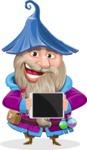 Wizard with Beard Cartoon Vector Character AKA Osborne the Magic Virtuoso - Tablet 2