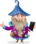 Wizard with Beard Cartoon Vector Character AKA Osborne the Magic Virtuoso - Tablet 3