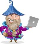 Wizard with Beard Cartoon Vector Character AKA Osborne the Magic Virtuoso - Laptop 1