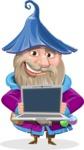 Wizard with Beard Cartoon Vector Character AKA Osborne the Magic Virtuoso - Laptop 2