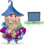 Wizard with Beard Cartoon Vector Character AKA Osborne the Magic Virtuoso - Laptop 3