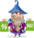 Wizard with Beard Cartoon Vector Character AKA Osborne the Magic Virtuoso - Sale 1