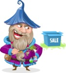 Wizard with Beard Cartoon Vector Character AKA Osborne the Magic Virtuoso - Sale 2