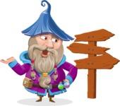 Wizard with Beard Cartoon Vector Character AKA Osborne the Magic Virtuoso - Crossroad