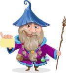 Wizard with Beard Cartoon Vector Character AKA Osborne the Magic Virtuoso - Sign 1