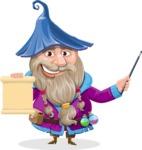 Wizard with Beard Cartoon Vector Character AKA Osborne the Magic Virtuoso - Sign 2