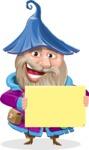 Wizard with Beard Cartoon Vector Character AKA Osborne the Magic Virtuoso - Sign 3