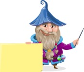 Wizard with Beard Cartoon Vector Character AKA Osborne the Magic Virtuoso - Sign 6
