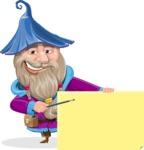 Wizard with Beard Cartoon Vector Character AKA Osborne the Magic Virtuoso - Sign 7