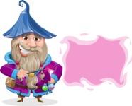 Wizard with Beard Cartoon Vector Character AKA Osborne the Magic Virtuoso - Sign 8