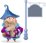 Wizard with Beard Cartoon Vector Character AKA Osborne the Magic Virtuoso - Street Sign