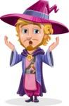 Sorcerer Cartoon Vector Character AKA Magnus the Great Enchanter - Shocked