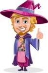 Sorcerer Cartoon Vector Character AKA Magnus the Great Enchanter - Attention