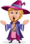Sorcerer Cartoon Vector Character AKA Magnus the Great Enchanter - Scared 2