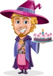 Sorcerer Cartoon Vector Character AKA Magnus the Great Enchanter - With Cake