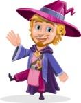 Sorcerer Cartoon Vector Character AKA Magnus the Great Enchanter - Wave