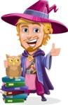 Sorcerer Cartoon Vector Character AKA Magnus the Great Enchanter - Books and Owl