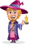 Sorcerer Cartoon Vector Character AKA Magnus the Great Enchanter - Candle
