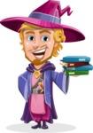 Sorcerer Cartoon Vector Character AKA Magnus the Great Enchanter - Magic Books