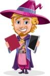 Sorcerer Cartoon Vector Character AKA Magnus the Great Enchanter - Book or Tablet