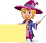 Sorcerer Cartoon Vector Character AKA Magnus the Great Enchanter - Sign 6