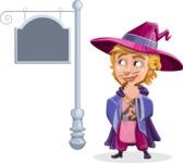 Sorcerer Cartoon Vector Character AKA Magnus the Great Enchanter - Street Sign