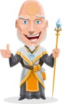 Wizard with Robe Cartoon Vector Character AKA Griffith - Thumbs Up