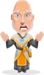 Wizard with Robe Cartoon Vector Character AKA Griffith - Scared 1