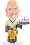 Wizard with Robe Cartoon Vector Character AKA Griffith - With Cake