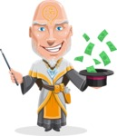 Wizard with Robe Cartoon Vector Character AKA Griffith - Money