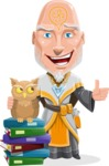 Wizard with Robe Cartoon Vector Character AKA Griffith - Books and Owl