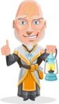 Wizard with Robe Cartoon Vector Character AKA Griffith - Lantern