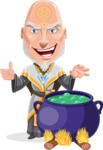 Wizard with Robe Cartoon Vector Character AKA Griffith - Making Decoction 1