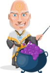 Wizard with Robe Cartoon Vector Character AKA Griffith - Making Decoction 2