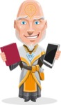 Wizard with Robe Cartoon Vector Character AKA Griffith - Book or Tablet