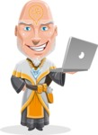 Wizard with Robe Cartoon Vector Character AKA Griffith - Laptop 1